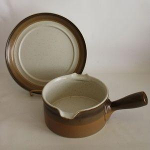 Mikasa Potter's Art Buckskin Gravy Bowl & Plate